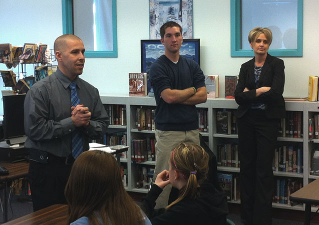 Picture from a presentation that Mike Mascarenas (Director of Community Resources), Kristy Sprague (Essex County District Attorney) and Brody Hooper (Elizabethtown Central School Junior and ER Technician at ECH) did for the students of Willsboro Central School on the dangers of K2 and underage drinking on April 4th, 2012